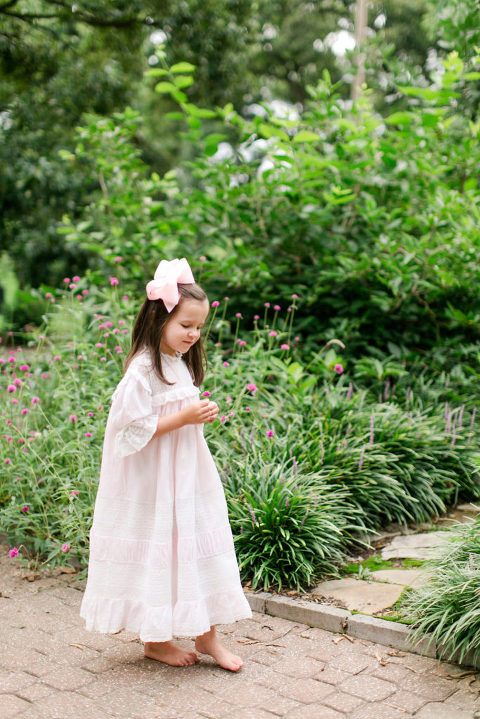 children's portrait in pink heirloom dress