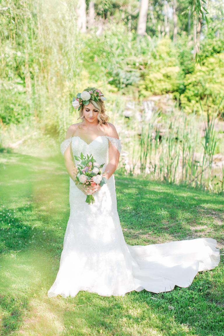 Bride under a willow tree